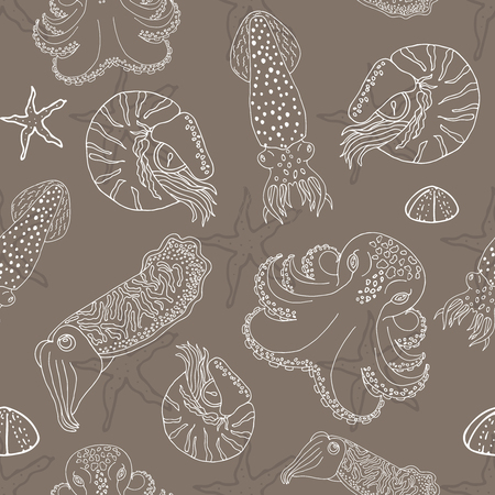 calmar: Hand drawn cephalopods seamless pattern. Coffee beige vector octopus, squid calmar, nautilus and cuttlefish