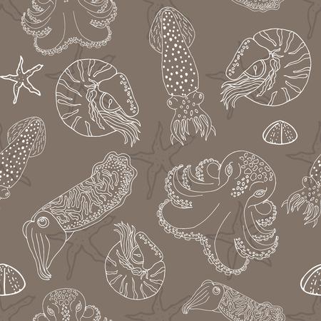cuttlefish: Hand drawn cephalopods seamless pattern. Coffee beige vector octopus, squid calmar, nautilus and cuttlefish