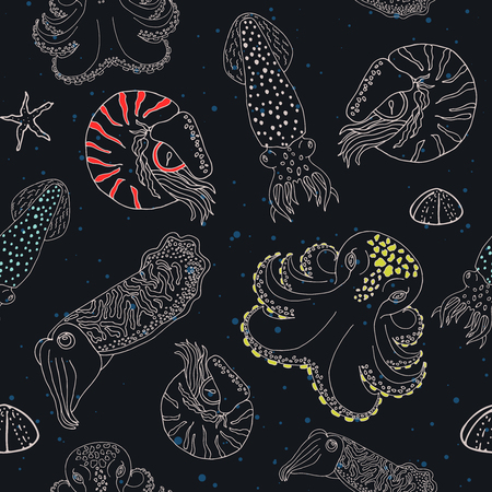 calmar: Hand drawn cephalopods seamless pattern. Black blue dotted background with color spoted vector octopus, squid calmar, nautilus and cuttlefish