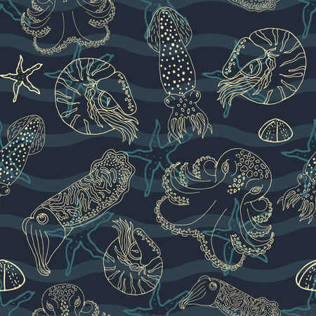 calmar: Hand drawn cephalopods seamless pattern. Dark blue waves and gold line vector octopus, squid calmar, nautilus and cuttlefish