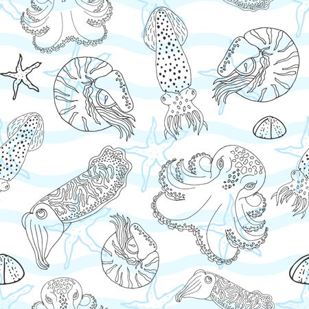 calmar: Hand drawn cephalopods seamless pattern. White blue waves and black line vector octopus, squid calmar, nautilus and cuttlefish