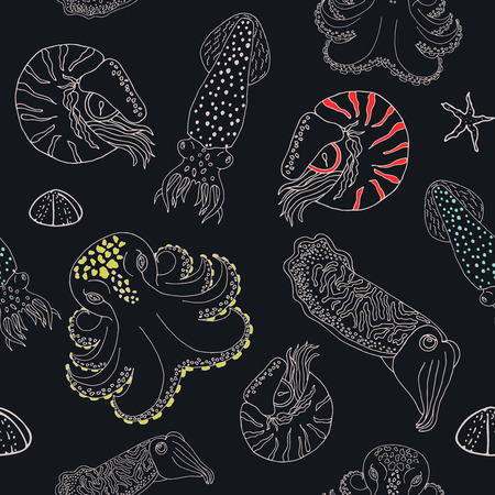 Hand drawn cephalopods seamless pattern. Black blue background with color spoted vector octopus, squid calmar, nautilus and cuttlefish Illustration