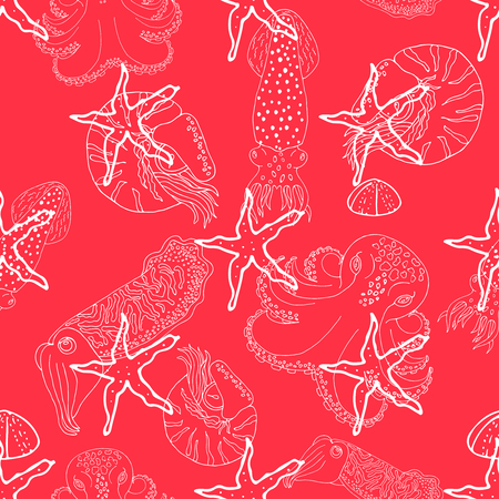 calmar: Hand drawn cephalopods seamless pattern. Red background vector octopus, squid calmar, nautilus and cuttlefish