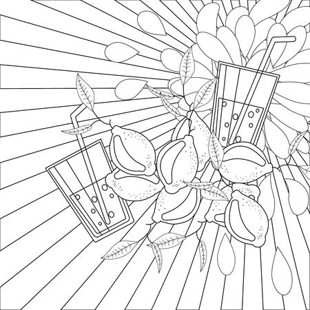 abstract fruit: Coloring book page lemons and juice