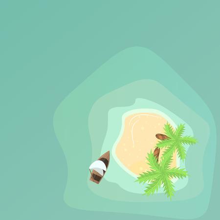 coastline: Palm trees on beach with boat in ocean near coastline