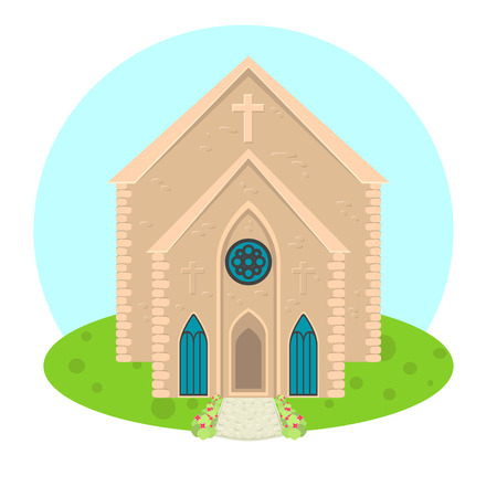 church worship: catholic church or cathedral building flat icon.