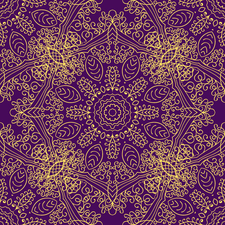 indian summer: Mandala swirl seamless background Illustration