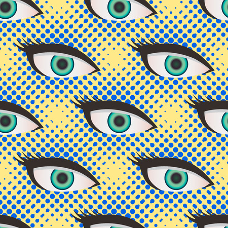 close up eyes: Pop art style halftone close up eyes pattern. Dotted yellow and blue background.