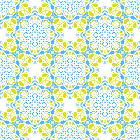 islamic pattern: Seamless mandala pattern in moroccan arabic style. Kaleidoscope light background blue and yellow