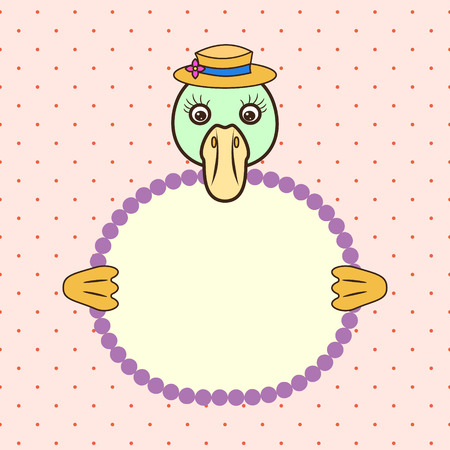 duck green: Green duck or goose holding banner card in paws. Birthday greeting celebration. Children cartoon animal on dotted background. Illustration