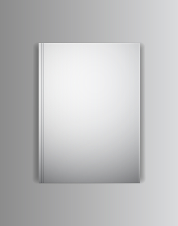 horizontally: Vector cover book mockup template. Blank emty lying horizontally cover with grey shadows. Ready to place your image.
