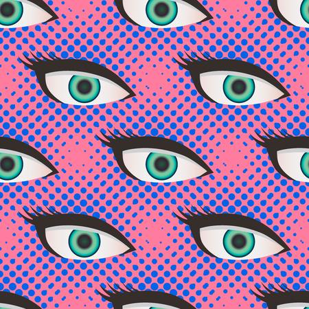 black girl: Pop-Art-Stil Raster close up Augen-Muster. Punktierte rosa und blauen Hintergrund. Illustration