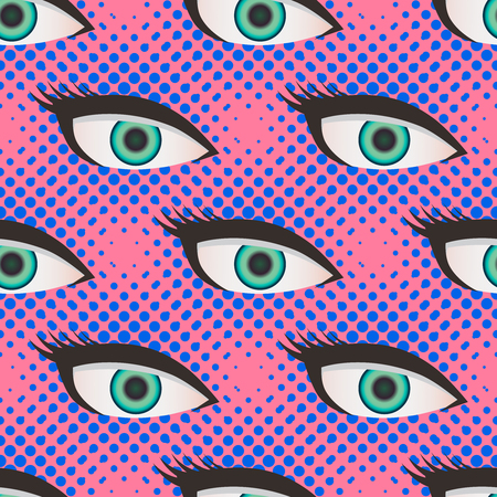 Pop art style halftone close up eyes pattern. Dotted pink and blue background. Иллюстрация
