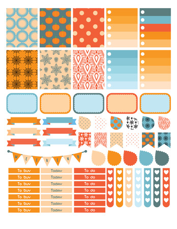 planner: Autumn planner sticker set for a week. Organizer or calendar note label tags.