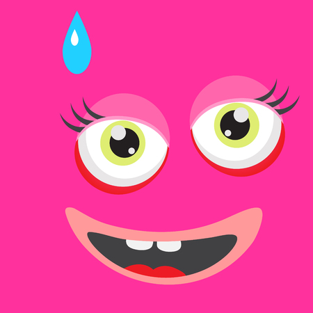 monster face: Pink monster face cartoon personage. Card background element. Surprised face expression. Illustration