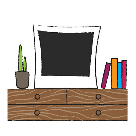 wooden shelf: Retro photo frame on wooden shelf. Room interior accessories plant and books.