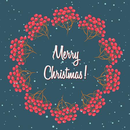 rowanberry: Rowan berry branch wreath, merry christmas rowanberry round frame with snow. Winter greeting card template design on dark.