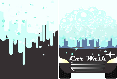 carwash: Vector car wash flyer for advert. Black automobile with water under automatic bubbles washing. Vehicle cleaning and polish service banner. Illustration