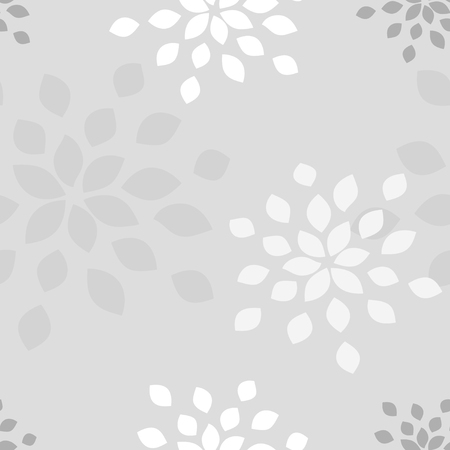 Stylized flower seamless pattern. Petals light grey textile fabric design.