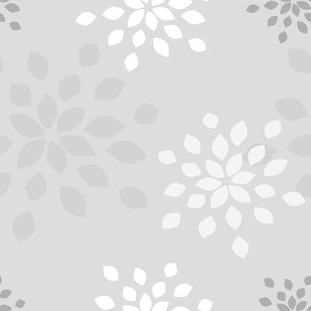 Stylized flower seamless pattern. Petals light grey textile fabric design.