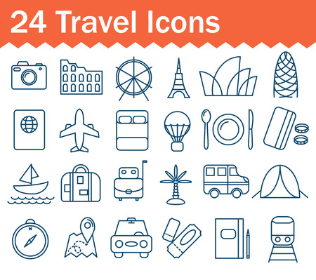 gherkin: Thin line travel, vacation icons set. Outline icon collection.