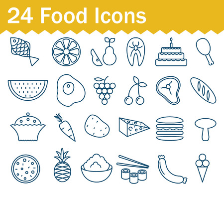 Thin line food, fruits and vegetables, grocery icons set. Outline icon collection. Illustration