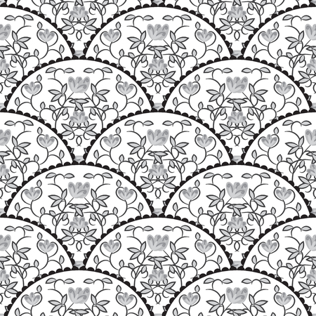 tail fan: Stylized fish scale japan wave seamless pattern. Flower branches swirls in grayscale colors. Fan or peacock tail ornament.