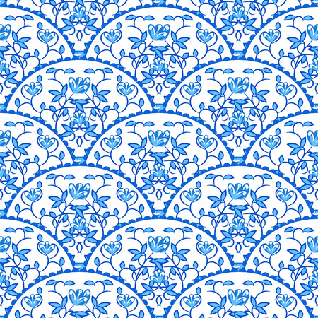 tail fan: Stylized fish scale japan wave seamless pattern. Flower branches swirls in blue porcelain colors. Fan or peacock tail ornament.