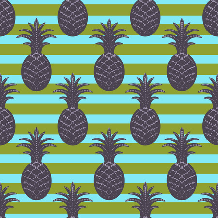 ananas: Pineapple seamless pattern on stripe green and cyan background. Stylized ananas fruit.