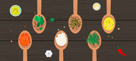 header image: Wooden spoons with spices and herbs on wood surface. Hero header image for site or journal article. Illustration
