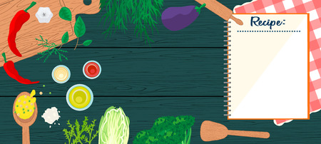 Cooking in kitchen top view banner. Food and utensils on wooden table - spatula, spoon, cutting board, towel, vegetables.