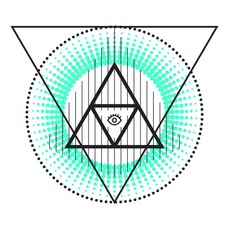 mystic: Sacred abstract geometry alchemy symbols. Circles and triangles, eye in pyramid, sunburst, lines. Mystic signs.