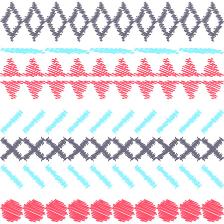 aztec: Aztec ethnic tribal seamless light pattern. Scribble or stitch embroidery effect. Geometric rough lines in shapes.