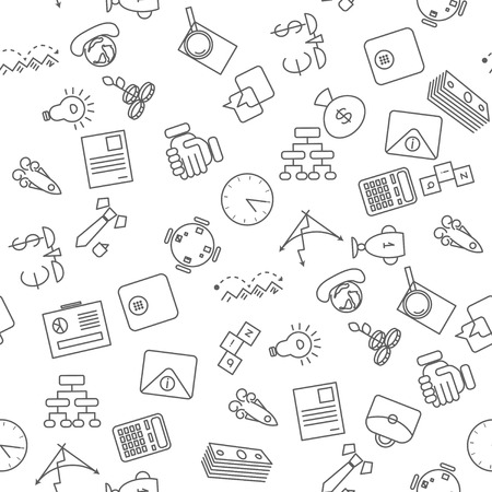 thin bulb: Thin line icons seamless pattern. Business, commerce and finance icon white background for websites, apps, presentations, cards, templates.