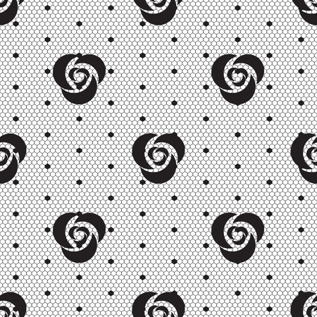 Dot rose lace seamless pattern net. Black cell textile openwork knit. Beads on hosiery knit. Polka dot in a row on reticulate textile.
