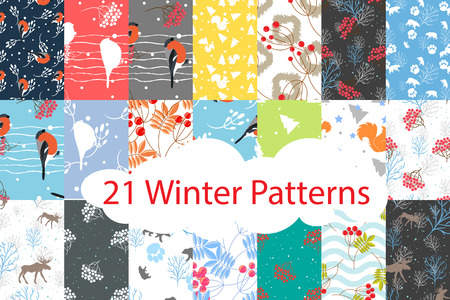 snow forest: Winter seamless pattern bundle set. Bullfinch, bear, deer, snow forest backgrounds. Crunberry and rowan, trees branches and lines.