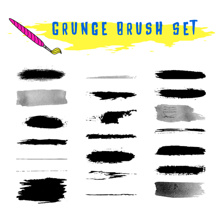 saved: Set of grunge vector brush stokes. Hand painted with ink and watercolor texture. Saved in brush panel.
