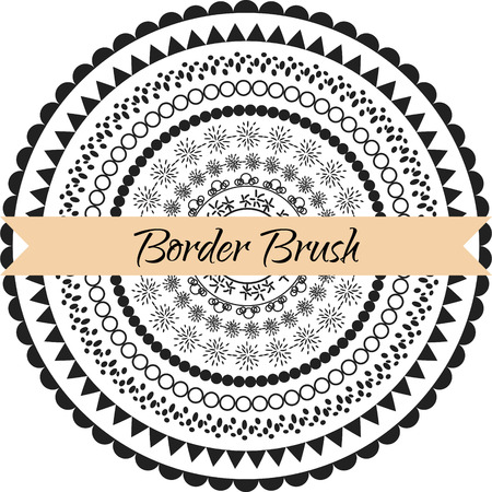 simple border: Border pattern brush set. Frame ethnic simple line brush kit saved in panel. Illustration