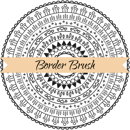 saved: Border pattern brush set. Frame ethnic primitive line brush kit saved in panel. Illustration