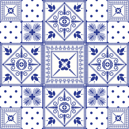 portugese: Vector seamless patchwork background. Navy blue tiles in moroccan oriental style. Ceramic pattern design. Illustration