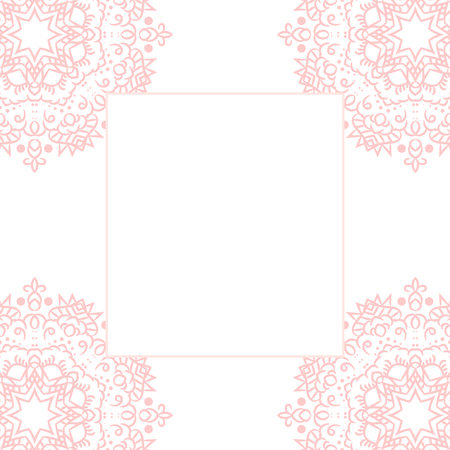 baby pink: Baby pink mandala card template background. Wedding invitation, shower card design, subtle tender girl colors. Copy space for text.