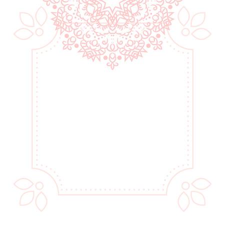tender: Light pink mandala card template background. Wedding invitation, shower card design, subtle tender girl colors. Copy space for text.