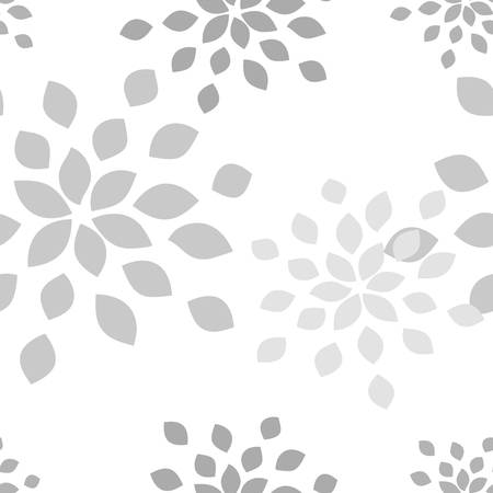 Stylized flower seamless pattern. Petals white textile fabric design.