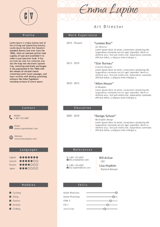 Vestor creative resume template. Minimalistic pink and white style. CV light infographic elements. Business personal job document.