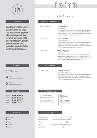 Vestor resume template. Minimalist grey and white style. CV light infographic elements. Business personal job document.