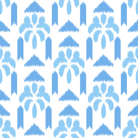 abstract scribble: Blue ikat seamless vector pattern. Abstract scribble texture. Textile fabric design. Illustration