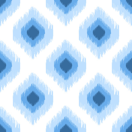 Blue ikat seamless vector pattern. Ogee rhombs geometric texture. Textile fabric design.