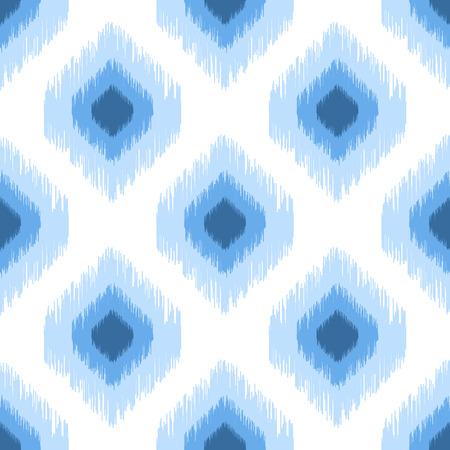 Blue ikat seamless vector pattern. Ogee rhombs geometric texture. Textile fabric design.