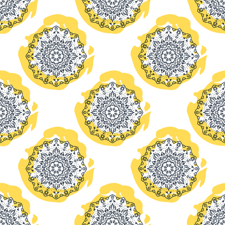 openwork: Mandala flower seamless vector pattern. Blue openwork rosettes on yellow circle stains. Repeating background. Illustration
