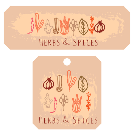 mustard seed: Herbs and spices doodle hand drawn label tags. Organic recycled paper.